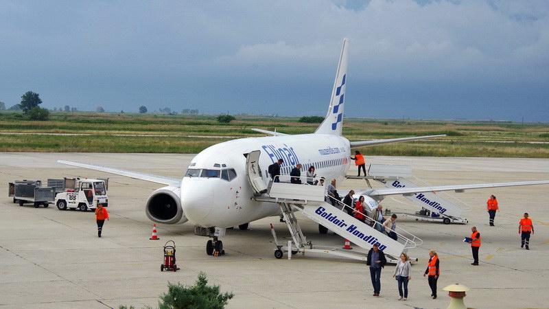 Επίσημη  υποδοχή για την πρώτη πτήση της Ellinair στην Καβάλα από τη Μόσχα