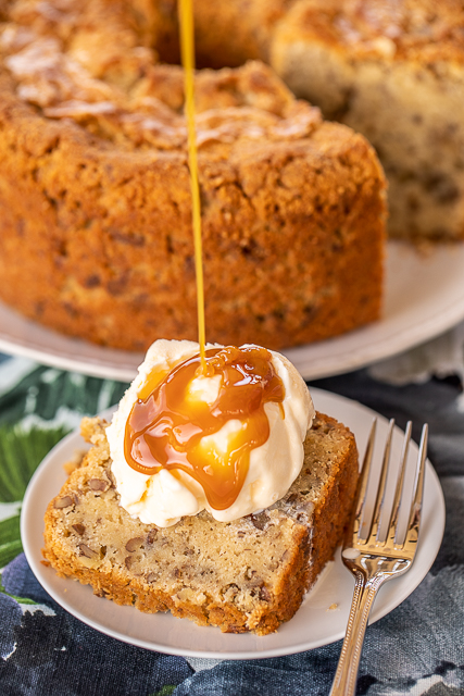 pound cake slice topped with vanilla ice cream and caramel sauce