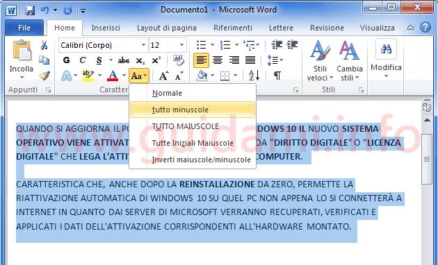 Microsoft Word da maiuscolo a minuscolo