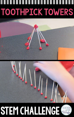 The perfect STEM Challenge- kids love it and it only uses two materials! It's the great Toothpick Tower. You have choices of two different building materials to use with toothpicks. Kids are very innovative about joining the parts together and you will love watching them. The resource comes with a detailed teacher's guide, lab sheets, and a scoring rubric! #STEM #elementary