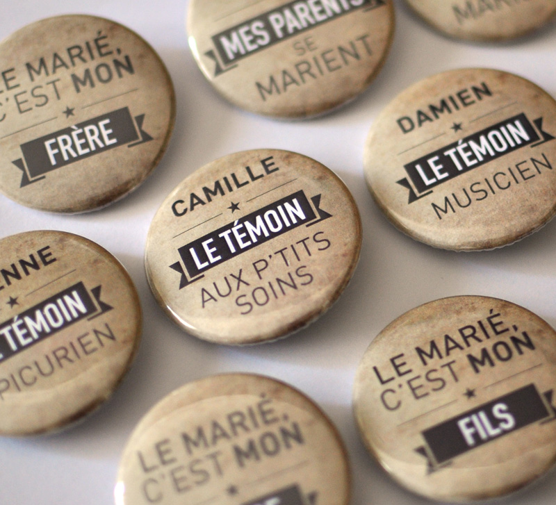 badges personnalisables en vente ici - Badges Personnaliss Mariage