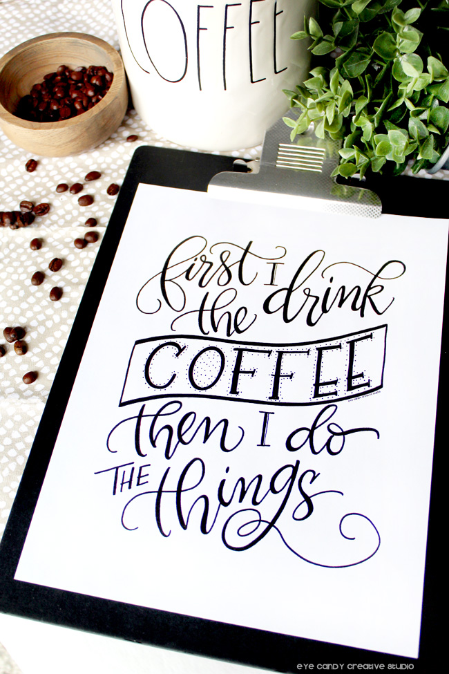 coffee beans, coffee art print, coffee canister, rae dunn, hand lettered