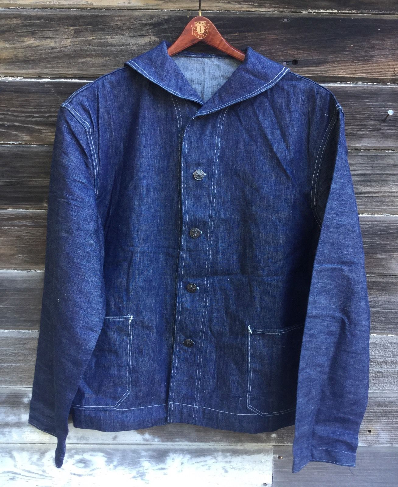 Nostalgia on Wheels: WWII USN Shawl Collar Denim Jacket