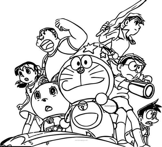 Tranh cho bé tô màu Doraemon và các bạn đi chiến đấu
