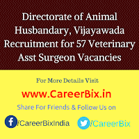 Directorate of Animal Husbandary, Vijayawada Recruitment for 57 Veterinary Asst Surgeon Vacancies