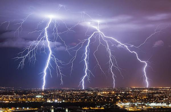 Lightning over Toulouse, France last evening by Dorian Dziadula
