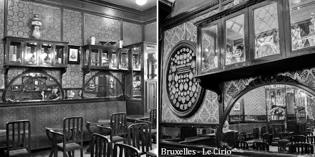 """""""Le Cirio"""" - L'une des plus anciennes tavernes bruxelloises - Classée au patrimoine des Monuments & Sites en 2011 - Salle centrale et salle arrière - Lambris et vitrines - Bruxelles-Bruxellons"""