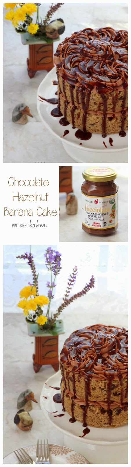 Chocolate Hazelnut Frosting on a Banana Layer Cake. Simple and Amazing for a birthday cake.