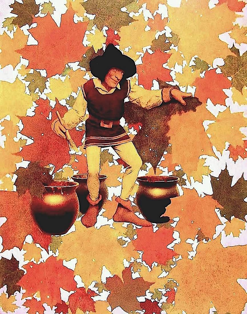 a Maxfield Parrish illustration of Autumn