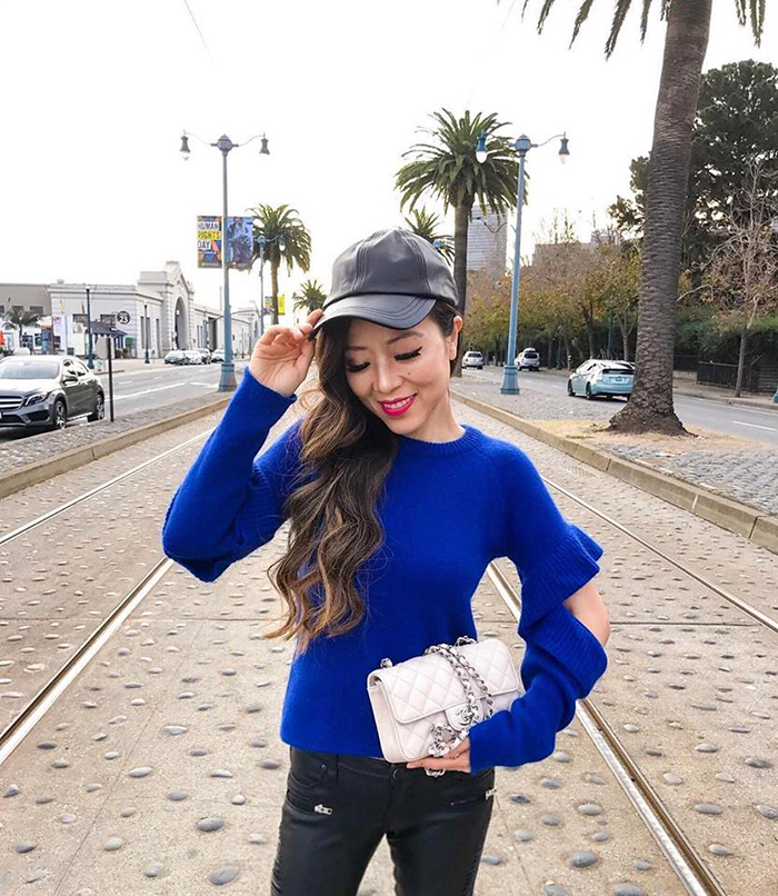 endless rose cutout sweater, chanel mini flap bag, hat attack baseball cap
