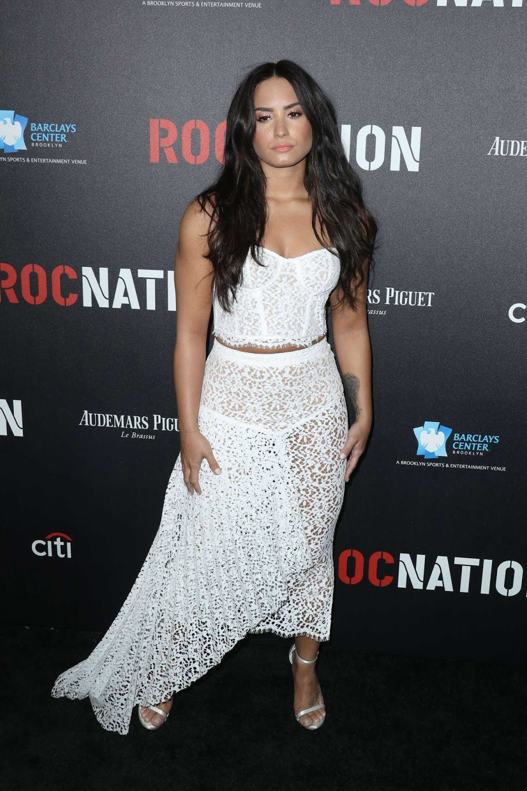 Demi Lovato wears lace corset and skirt to a Pre-Grammy brunch in LA