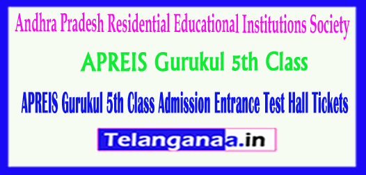 APREIS Gurukul 5th Class Andhra Pradesh Residential Educational Institutions Society Admission Entrance Test Hall Tickets 2018