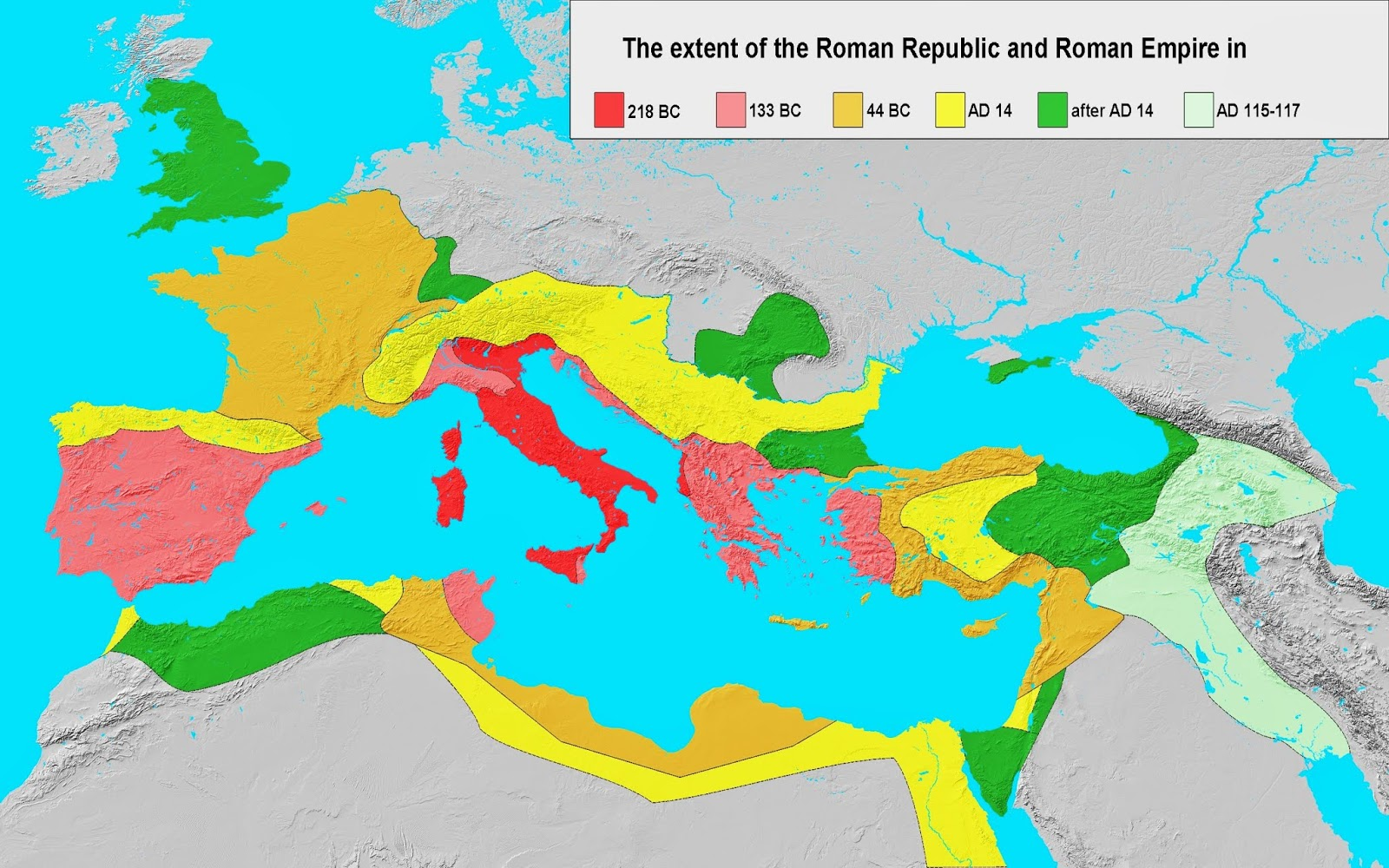 you will notice that china and mongolia are not on this map people who glorify the roman empire usually omit the fact that the romans never conquered