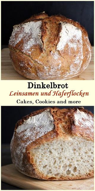 Rezept für No knead Dinkelbrot mit Leinsamen und Vollkornflocken