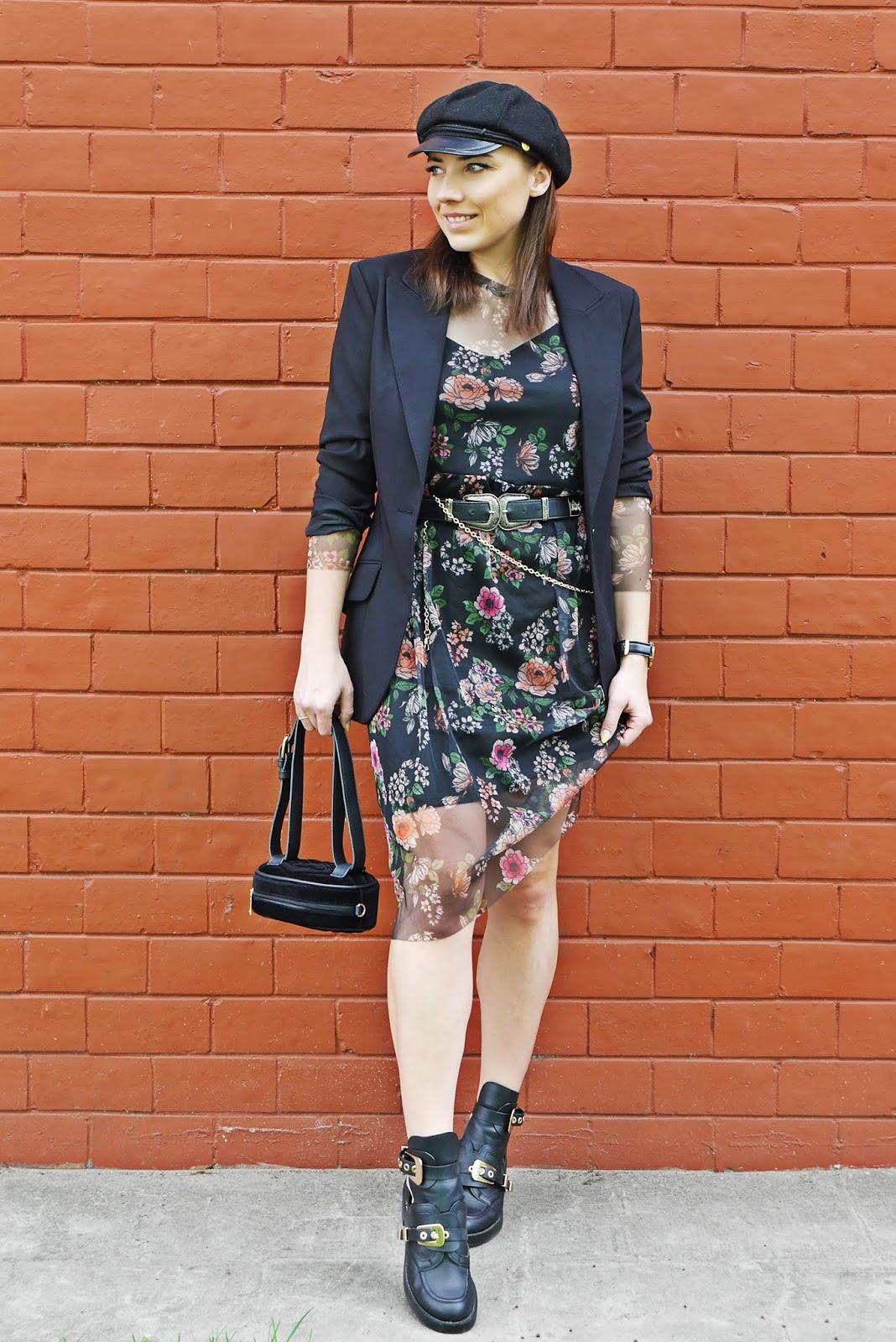Sukiena w kwiaty bonprix buty balenciaga marynarka czarna nerka renee karyn blog modowy