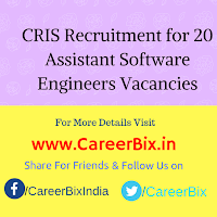CRIS Recruitment for 20 Assistant Software Engineers Vacancies