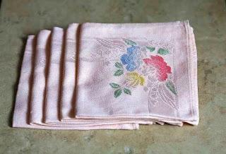 Vintage (5) Blush Pink Damask Napkins