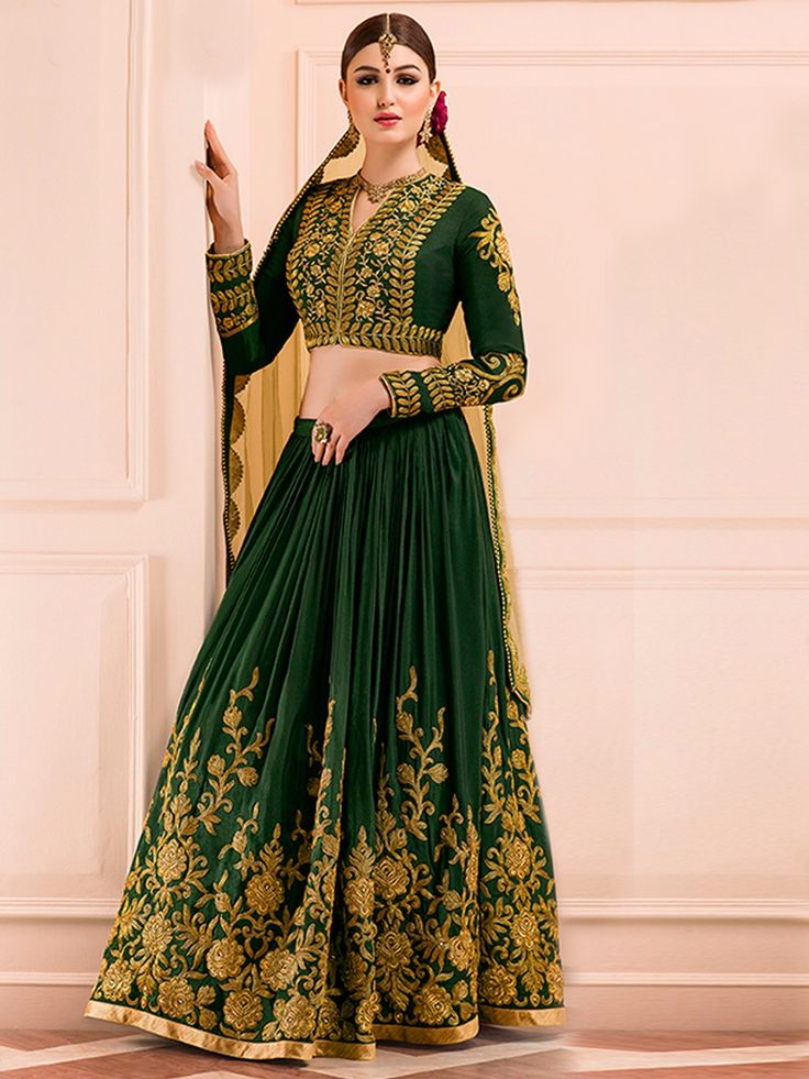 Green Lehenga with Golden Work For a Bride to be
