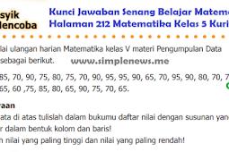 LENGKAP !!! Kunci Jawaban Senang Belajar Matematika Halaman 212 Matematika Kelas 5 Kurikulum 2013