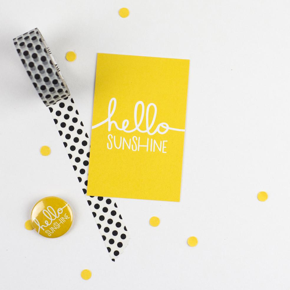 hello sunshine badge and flyer