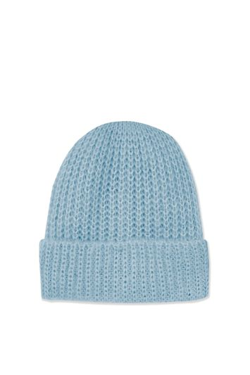 Topshop Girly Turn Up Beanie Hat – Light Blue