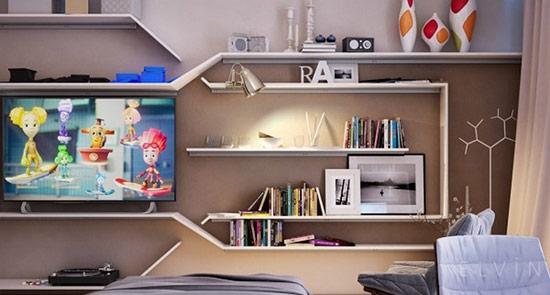 Giá sách cách điệu tạo điểm nhấn cho căn phòng.