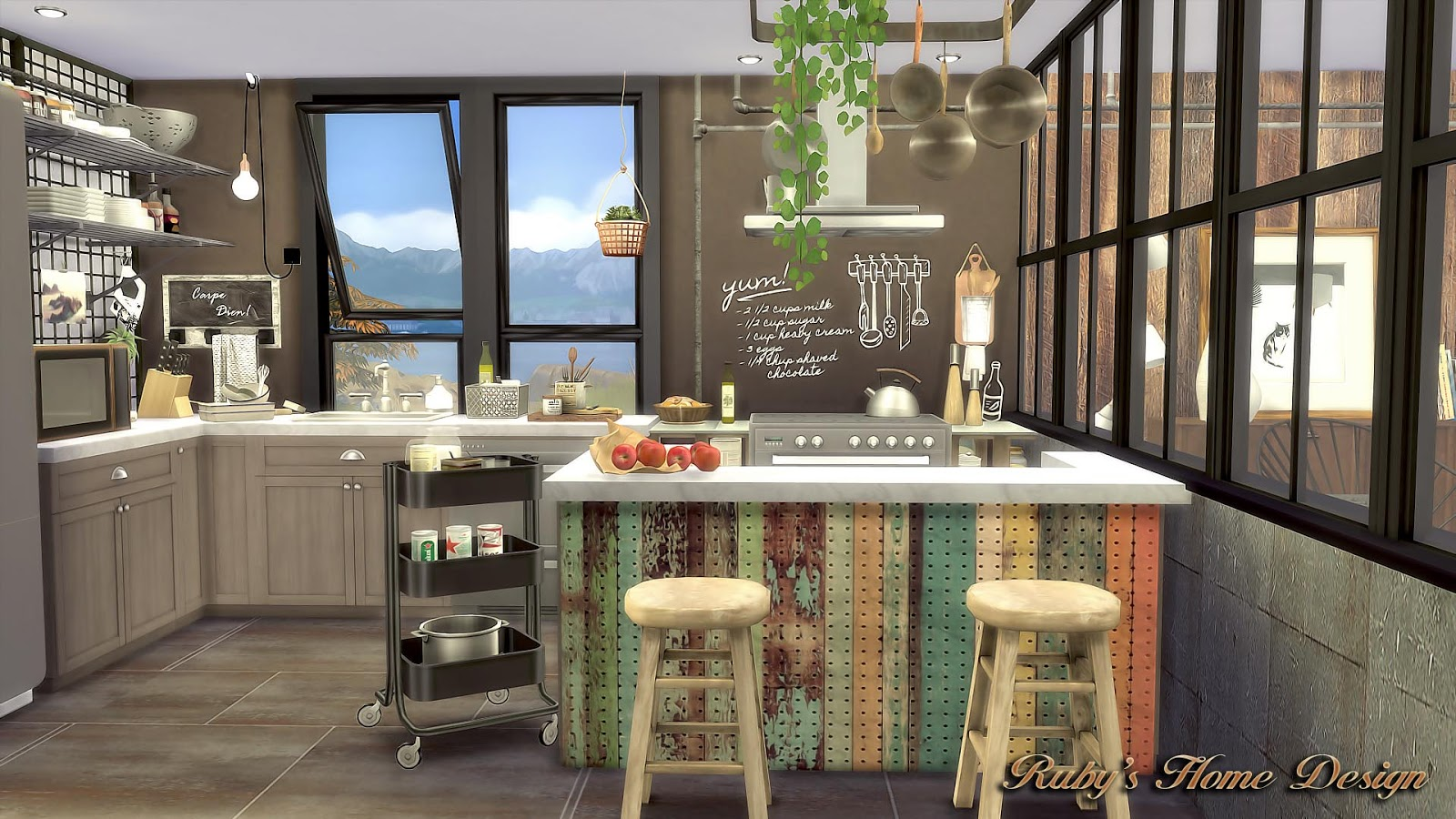 sims 4 cc's - the best: mid century industrial loft by ruby red, Badezimmer ideen