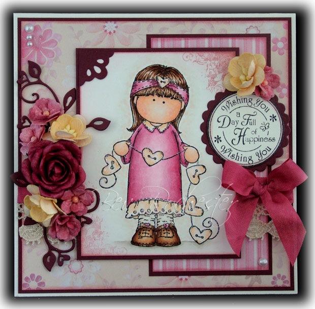 Скрапбукинг открытка для девочки на день, открытки