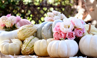white pumpkins, shades of pale pink flowers, unique fall colors