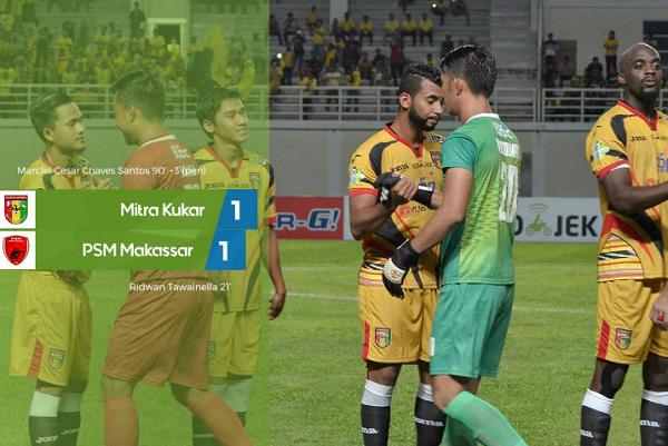 PSM Makassar Kepuncak Klasemen Setelah Bermain Imbang dengan Mitra Kukar