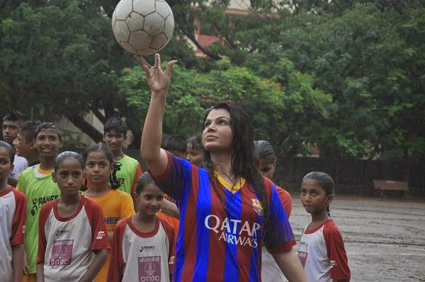 Rakhi Sawant soccer match with Carlyta soccer for under privileged children