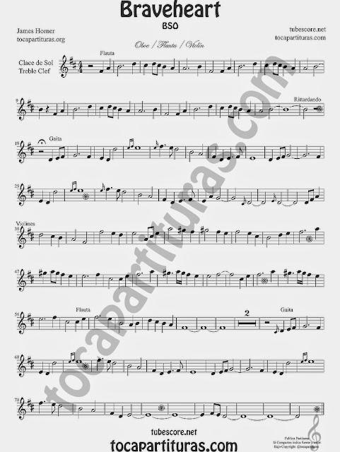 Braveheart Partitura de Flauta, Violín, Oboe e instrumentos afinados en Do y Clave de Sol en 2º línea ( cornos)