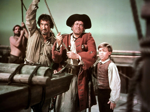 Robert Newton as Long John Silver and Bobby Driscoll as Jim Hawkins in Treasure Island, 1950. Freelance Piracy marchmatron.com