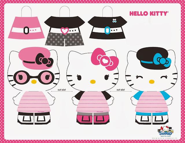 Fiesta de Hello Kitty: Muñecas Recortables para Imprimir Gratis.