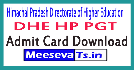 Himachal Pradesh Directorate of Higher Education PGT Exam Date Admit Card/Hall Ticket Download 2018