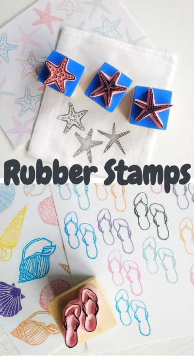 Coastal Beach Rubber Stamps