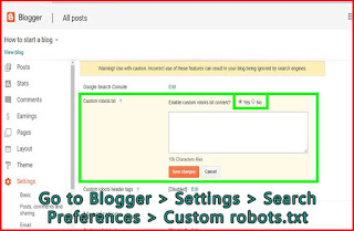 Go to blogger search preferences -google search console