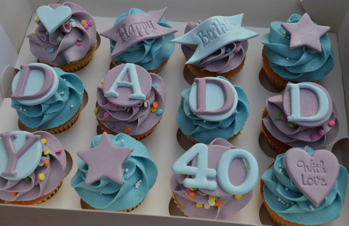 Little Paper Cakes Happy Birthday Daddy 40th Mini Cupcake Gift Box