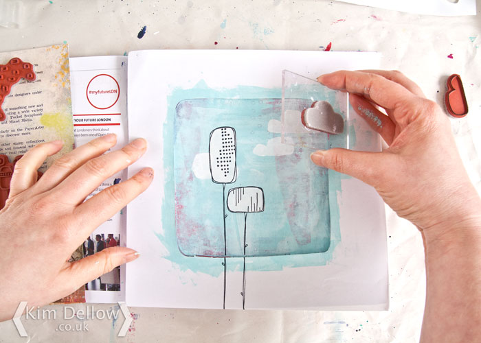 Kim Dellow Art Journal page Step 6 stamp the images