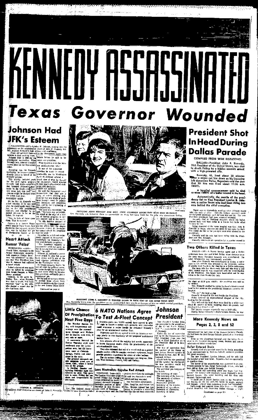The front page of the Denver Post on the day Kennedy was Assassinated