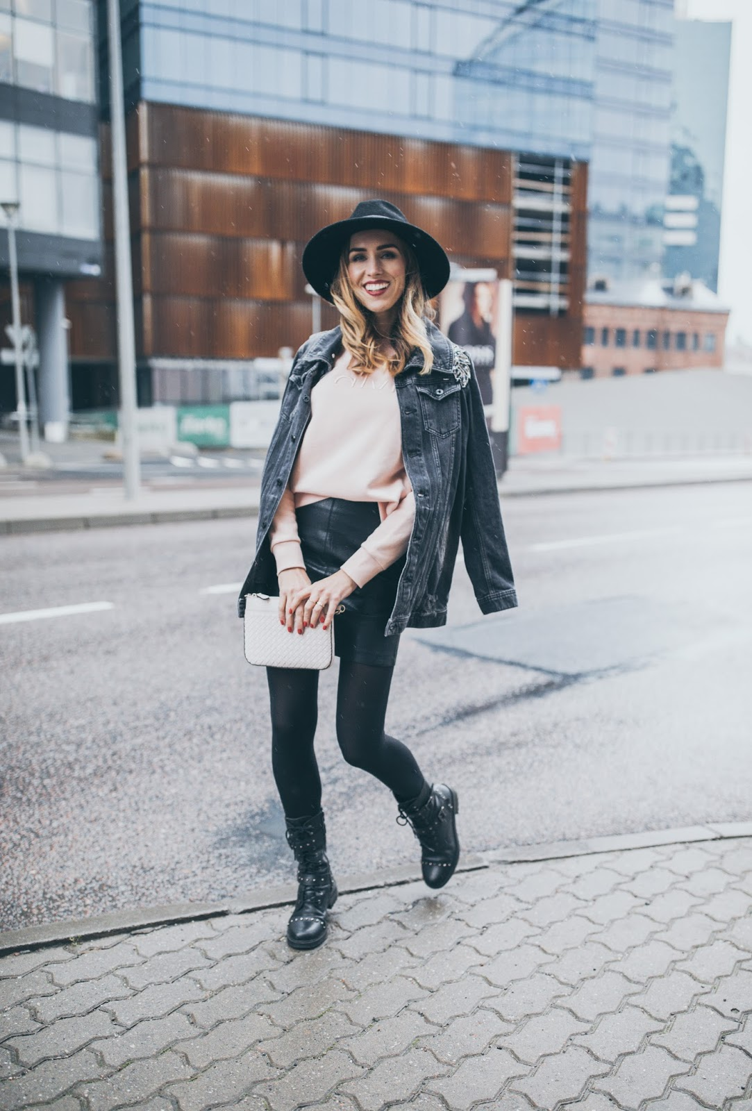 denim jacket fedora leather mini skirt fall outfit