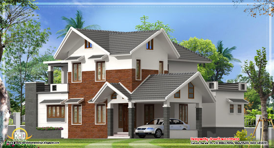 2390 Sq. Ft. Modern sloping roof house