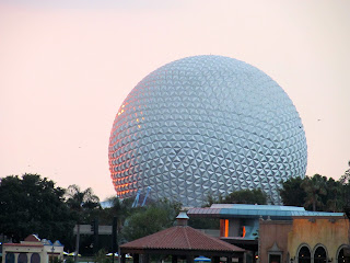 The sun setting at EPCOT