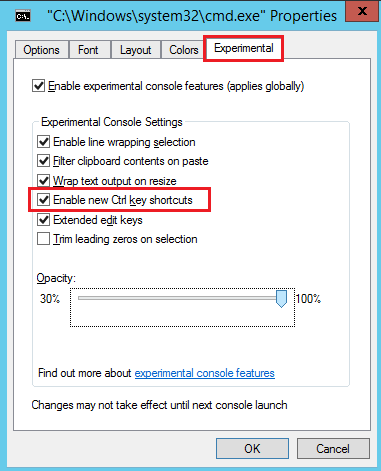 Copiar pegar desde CMD en Windows Server 2015 Technical Preview