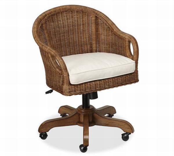 Charming Wingate Rattan Swivel Desk Chair