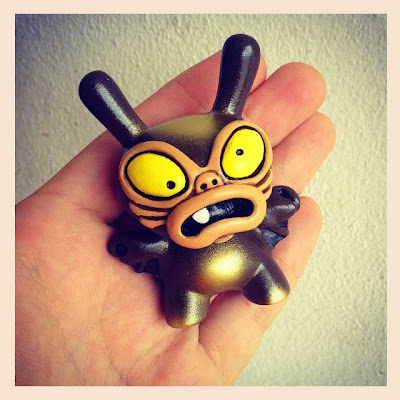 """Chocolate Brown and Gold"" Baby Greasebat Dunny Resin Figure by Chauskoskis"