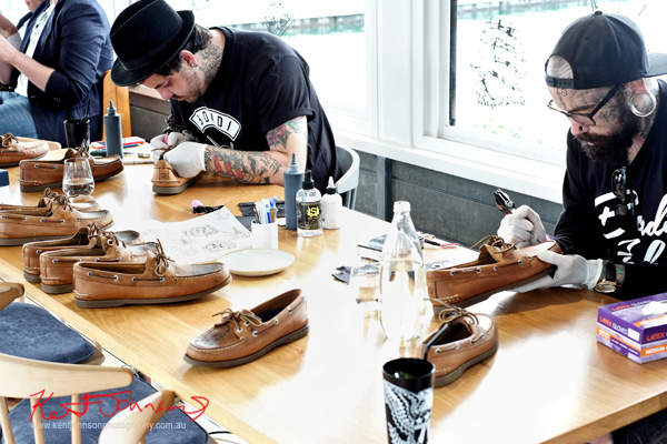 Bondi Ink tattooists tattooing Sperry Top-Sider boat shoes. Odyssey Australia launch @ Regatta with Swimming Australia.