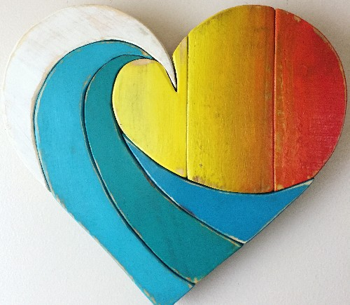 Ocean Wave Wood Heart Art