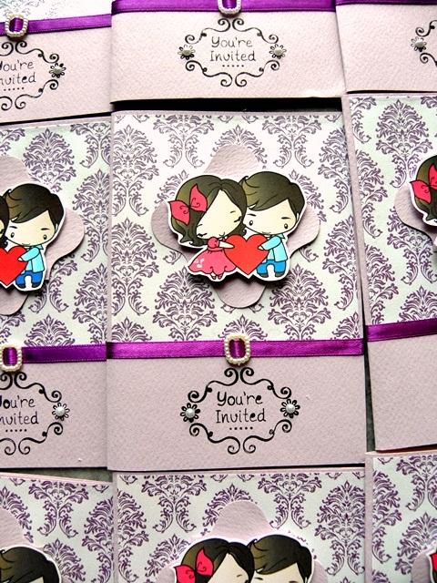 Cartoon Couple Purple Damask Wedding Invitation Cards, purple, classic fold, wedding cartoon invites, purple art card cartoon wedding cards, cartoon couple wedding cards, damask