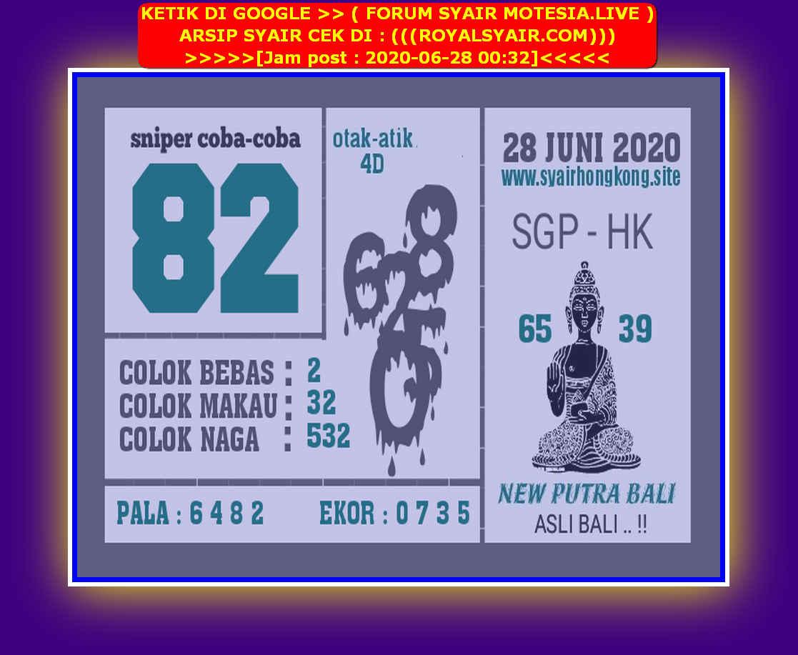 Kode syair Singapore Minggu 28 Juni 2020 189